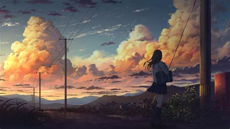 Anime Desktop Wallpaper 1366x768 - 1366x768 anime landscape anime clouds