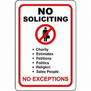 """No Soliciting No Exceptions 8"""" x 12"""" Aluminum Sign eBay"""