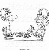 Wife Coloring Table Husband Outline Football Cartoon Playing Vector Toonaday sketch template
