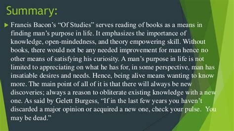 What is a summary of Francis Bacon s Of Studies?
