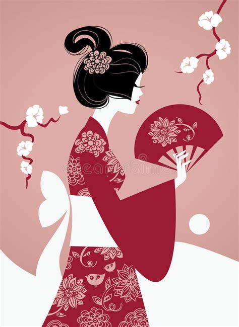 Japanese Girl Silhouette Stock Vector Illustration