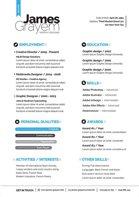 professional resume cv template cover letter