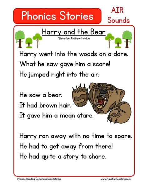reading comprehension worksheet harry and the bear