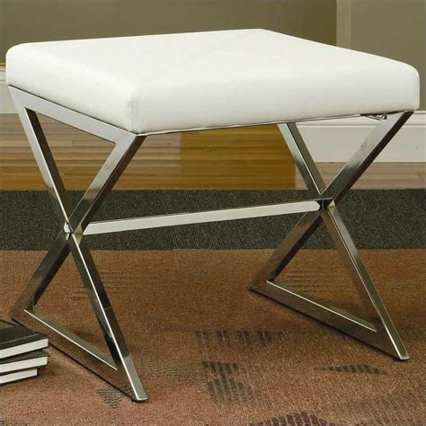 ottoman with metal legs coaster faux leather ottoman with metal base in white 501063