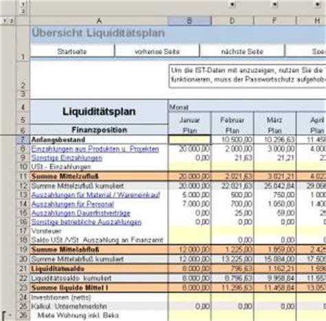 excel tool liquiditaetsplanung vorlage fuer die planung