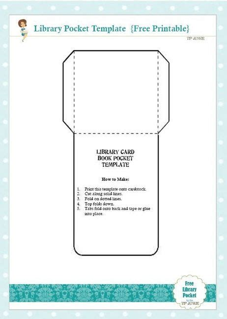 free library card book pocket template printable organization libraries