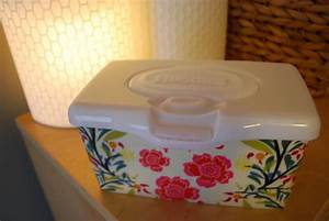 Custom fabric-covered Huggies baby wipes popup tub