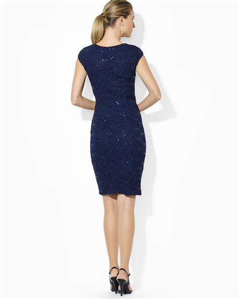 lyst ralph lauren lauren dress sweetheart neckline cap sleeve lace  blue