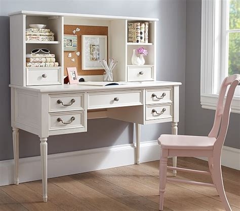 kids white desk with hutch blythe desk tall hutch pottery barn kids
