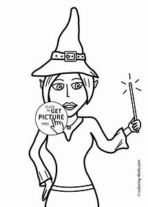 Halloween Witch with wand coloring pages for kids ...