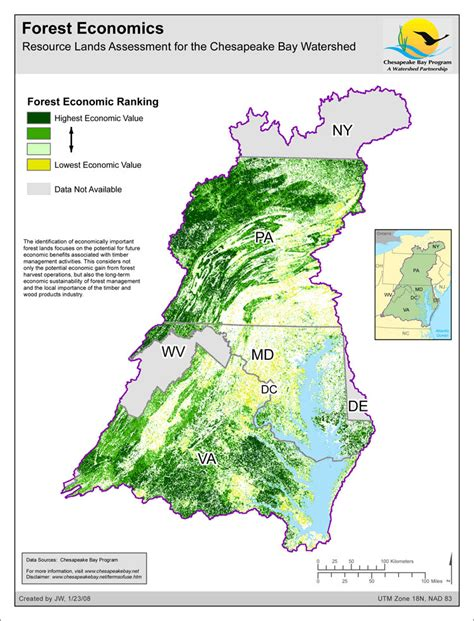 Chesapeake Bay Gis Data by Map Forest Economics Resource Lands Assessment