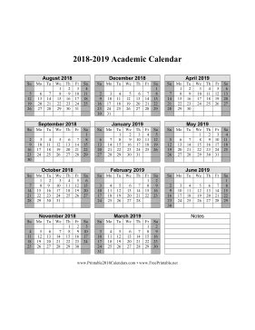 2018 2019 academic calendar template printable 2018 2019 academic calendar