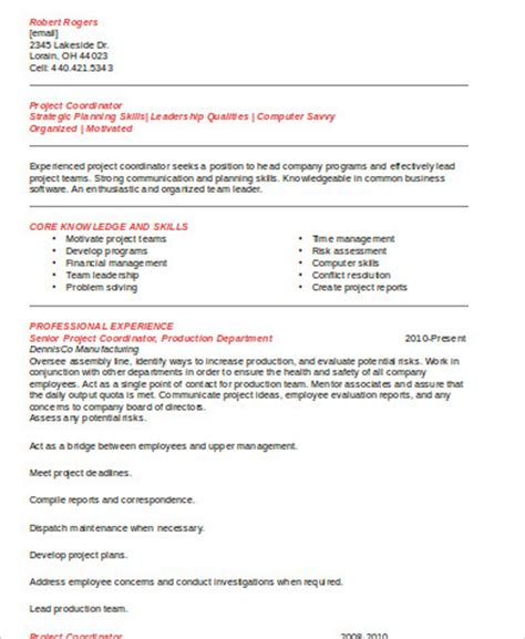 sle project coordinator resume 8 exles in word pdf