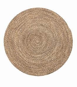 tapis rond tresse en laine et coton beige o120cm With tapis rond coton