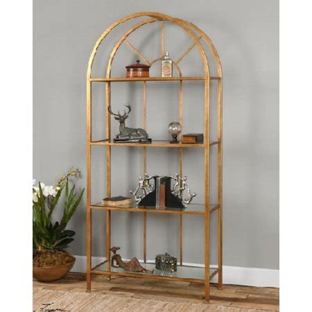 Glass Etagere Display by 78 Quot Golden Forged Iron Tempered Glass Etagere Display