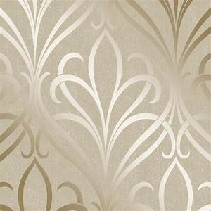 Henderson Interiors Camden Damask Wallpaper Cream, Gold ...