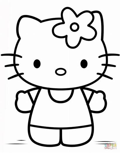 Kitty Hello Drawing Coloring Colorare Draw Ausmalbild