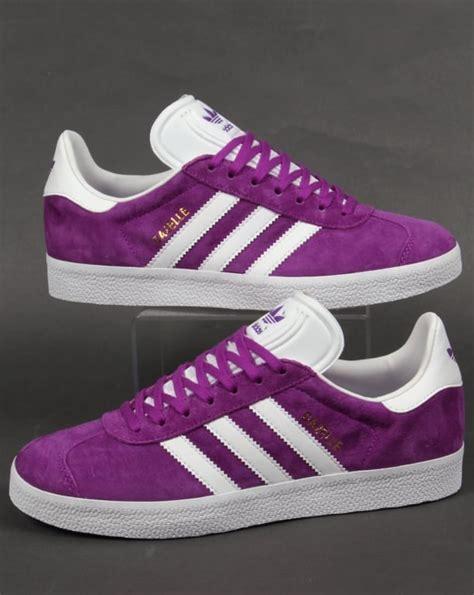 adidas gazelle trainers purplewhite suede originalsmens