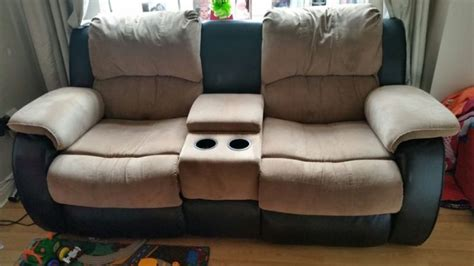 seater recliner sofa  cup holders  storage