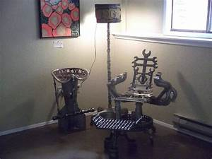 Garage Seat 77 : custom garage art chair made from tools and car parts with an ottoman made from chain and ~ Gottalentnigeria.com Avis de Voitures
