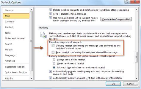how to request delivery receipt and read receipt in outlook