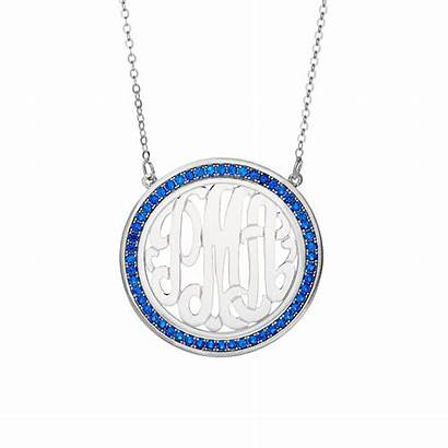 Monogram Sterling Necklace Birthstones Charm Features Birthstone