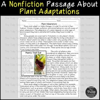 plant  animal adaptations reading comprehension paired