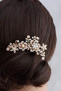 Flower Wedding Comb Rose Gold Bridal Hair Accessory
