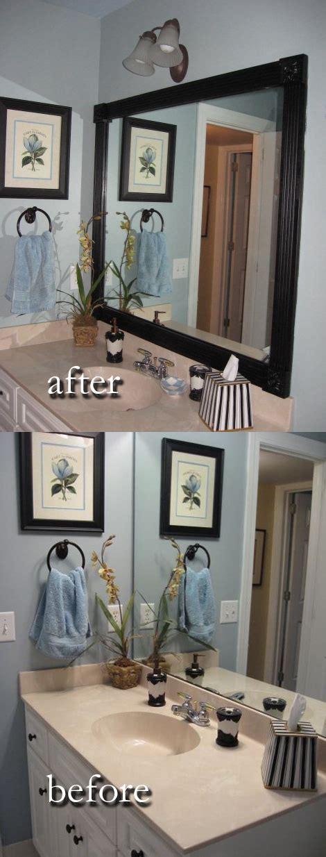 Mirror Borders Bathroom by Winnerdogfinds Diy Updated Bathroom Mirror Wood Border