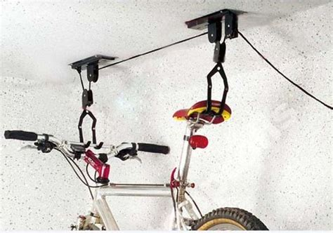 diy ceiling mount bike lift 2 sets of ceiling mounted hanging bicycle bike lift