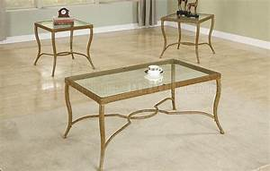 Antique gold metal frame stylish 3pc coffee table set for Gold glass coffee table set