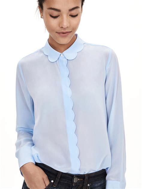 banana republic silk blouse banana republic blue scalloped silk blouse lyst
