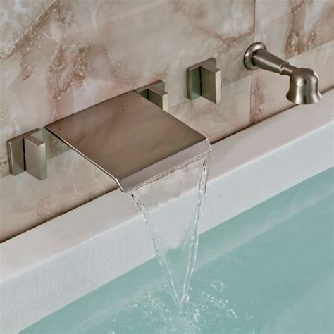 discount bathtubs brushed nickel wall mount waterfall faucet with handheld