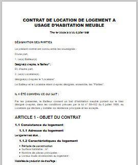 contrat de location meublee modele word   pret