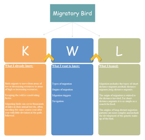 migratory bird kwl chart examples  templates
