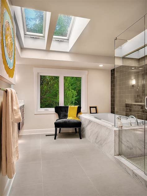 Modern Residential Indoor Skylight Design Ideas by 23 Gorgeous Bathrooms That Unleash The Radiance Of Skylights
