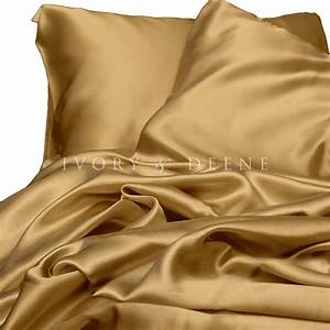 Luxury gold silk satin queen size bed sheet set new hotel for Silk queen bed sheets
