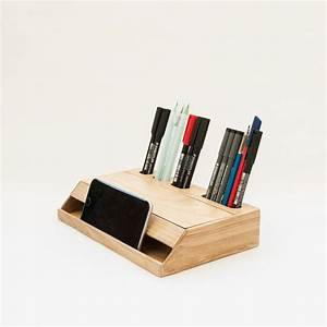 Handmade, Modern, Solid, Wood, Desk, Organizer, With, Smartphone, Stand