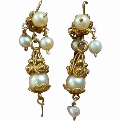 Earrings Pearl Antique Ruby Lane