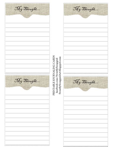 sweetly scrapped  thoughts  printable journaling cards