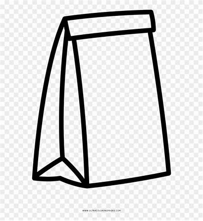 Bag Paper Coloring Clipart Drawing Line Cartoon