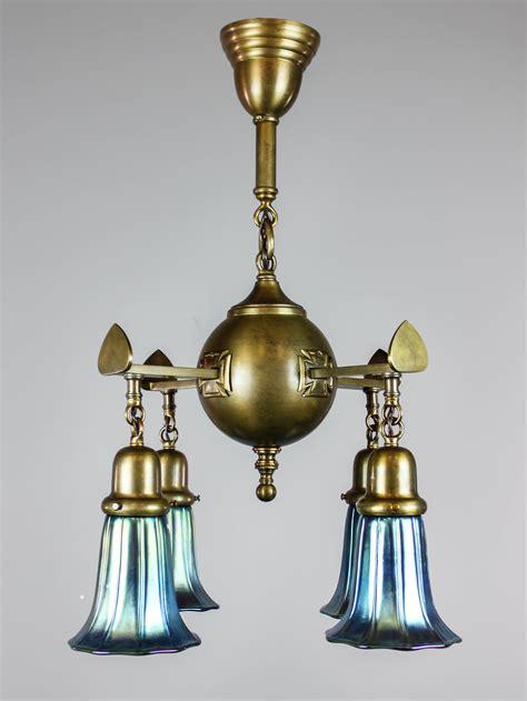 Unusual Antique Light Fixture (4light