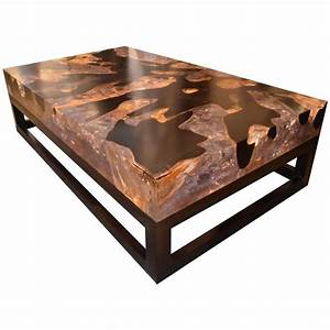 cracked resin coffee table with base for sale at 1stdibs With wood and resin coffee table