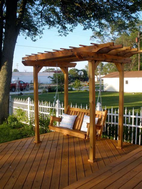 porch swing pergola wooden dreams outside living 1600