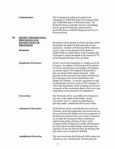 sample silicon valley series a term sheet from dla piper With acquisition term sheet template