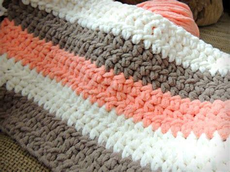 Coral Cream Tan Chunky Crochet Baby Blanket