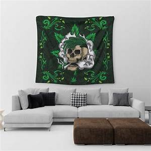 A Skull With Cannabis With Mandala Background Hippie