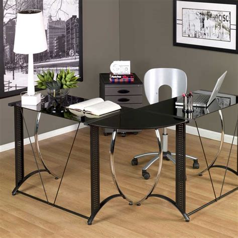 black glass l shaped desk small glass desk for small home office space