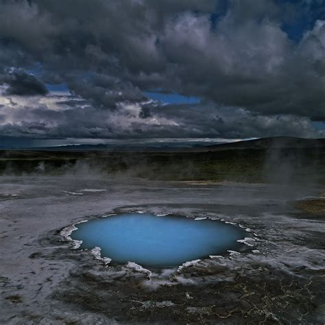 Bláhver, or blue spring, in the volcanic area of ...