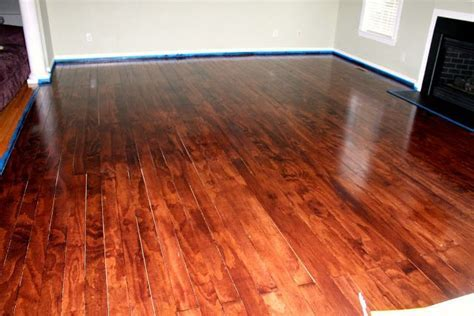 """PLYWOOD FLOORS   cut into 4"""" boards and stained.   Home"""
